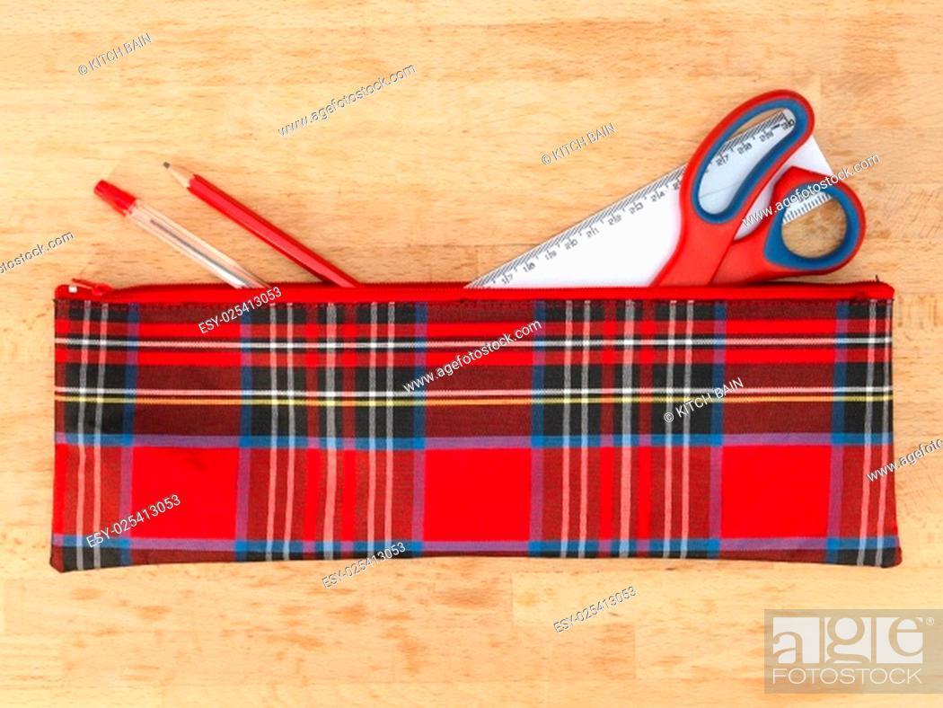 Stock Photo: A close up shot of a school pencil case.