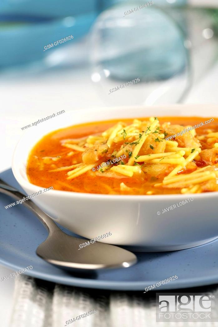 Stock Photo: Noodles soup with cod.