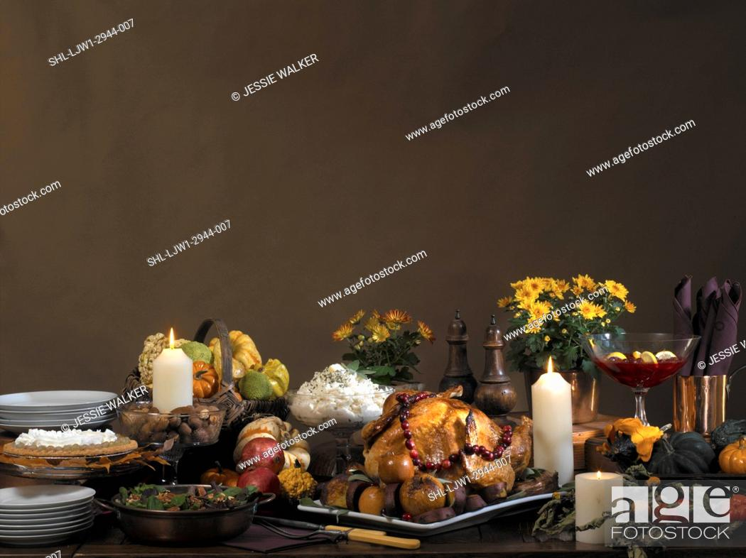 Stock Photo: FALL THEME FOOD: Bountiful fall feast, Thanksgiving set up with brown backdrop, turkey with cranberry garland, mum plants , basket of gourds, candles,.