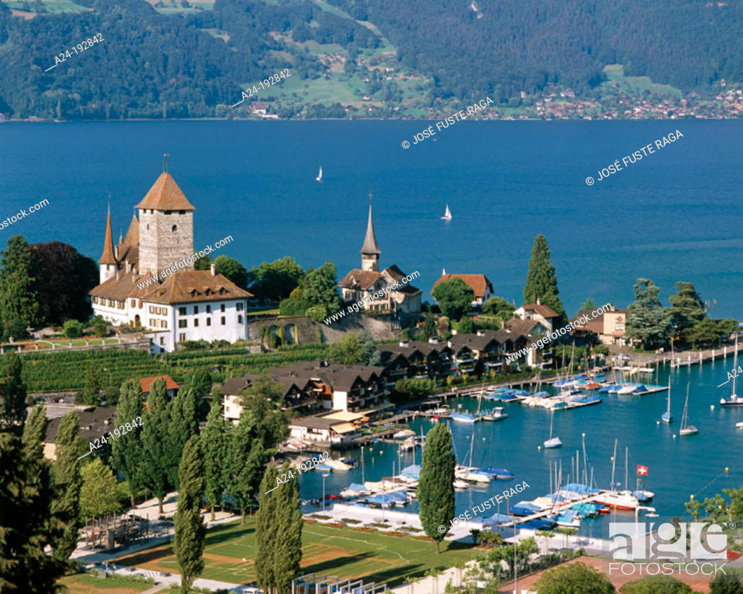 Stock Photo: Thun Lake and Spiez city. Switzerland.