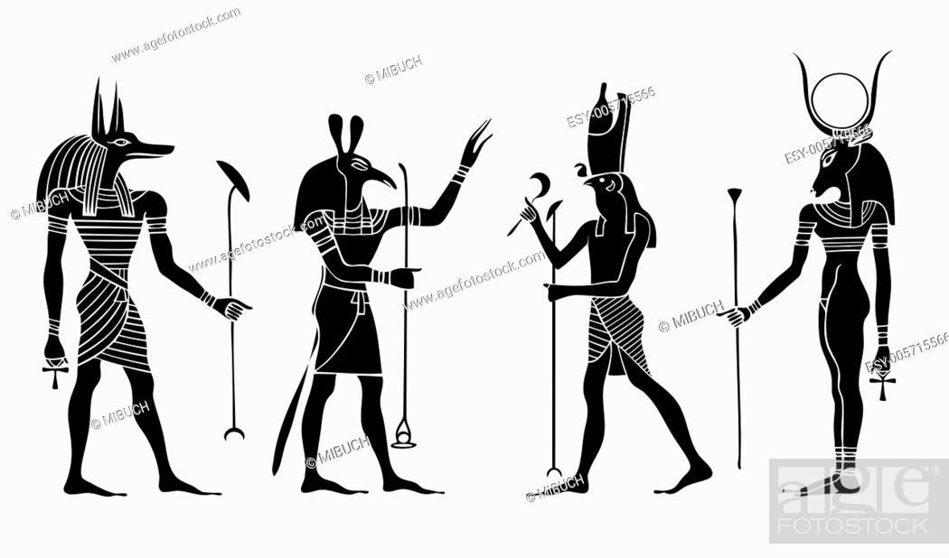 Vector: Egyptian gods and goddess.