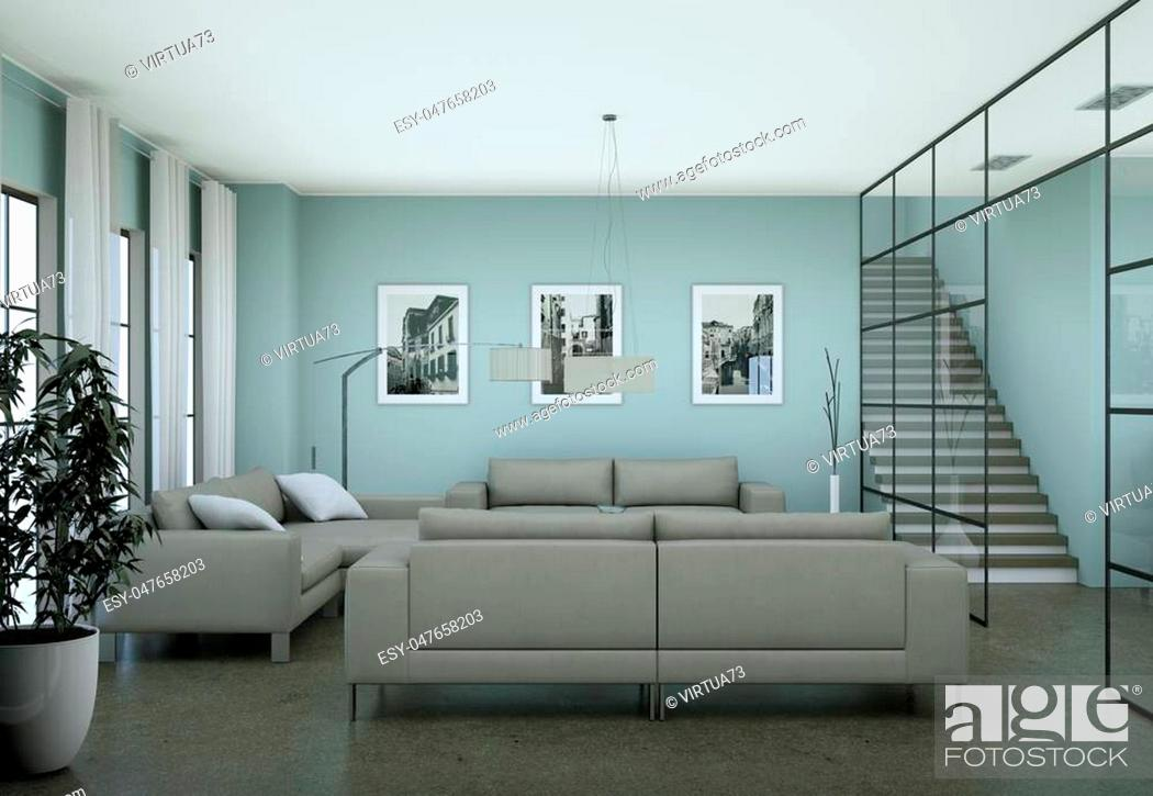 Stock Photo: Modern minimalist living room interior in loft design style with sofas 3d Rendering.