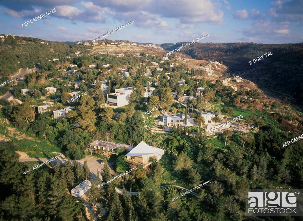 Stock Photo: Aerial photograph of the art colony of Ein Hod on the Carmel ridge.
