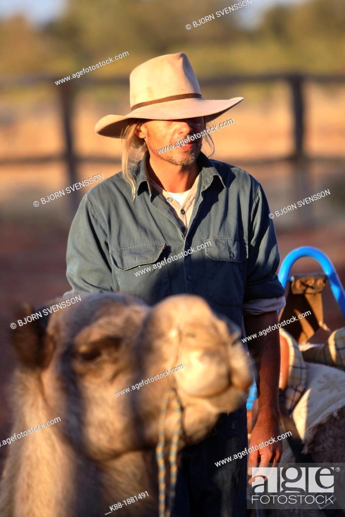 Stock Photo: Cameleer, Central Australia.