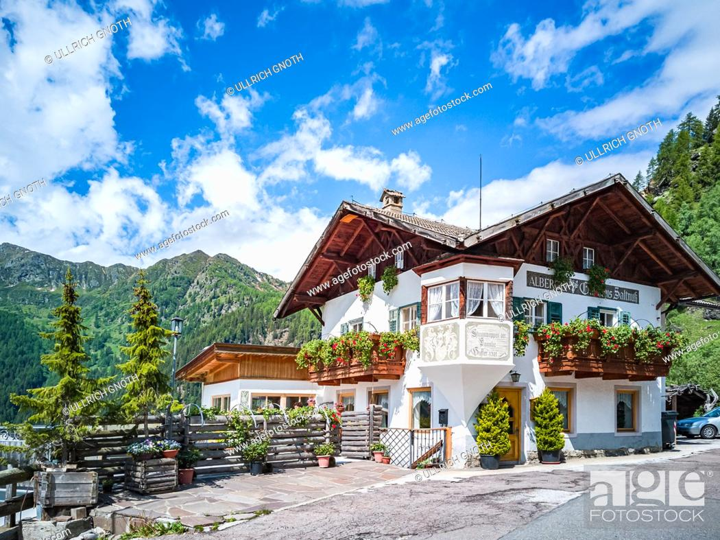 Stock Photo: View of the Albergo 'Gasthaus Saltnuss' in Rabenstein in the Passeier Valley above Moos, South Tyrol, Italy.