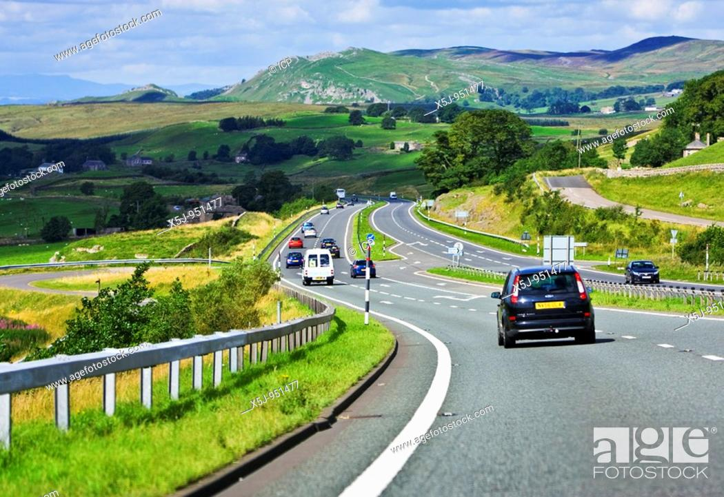 Stock Photo: Driving on the A66 route across the Pennines towards Cumbria, England, UK.