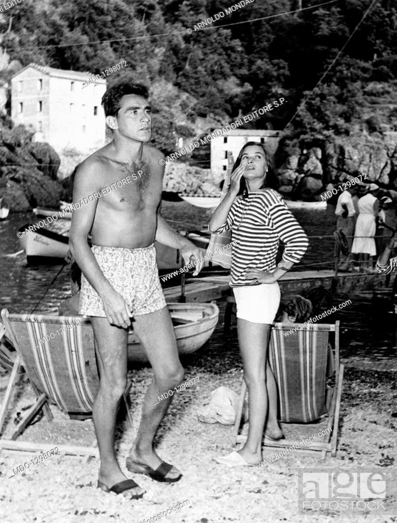 Walter Chiari With Lucia Bosé On The Beach Italian Actress Lucia