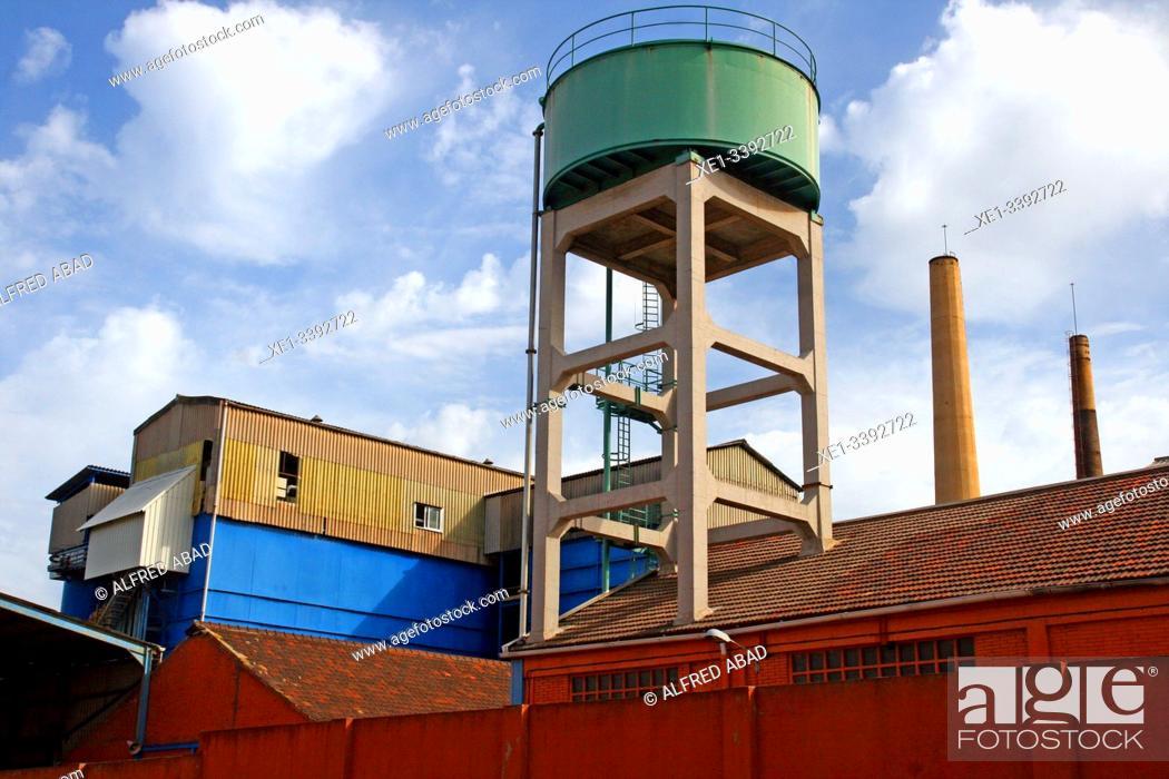 Stock Photo: Water tank, industrial enclosure, Besos district, Barcelona, ??Catalonia, Spain.