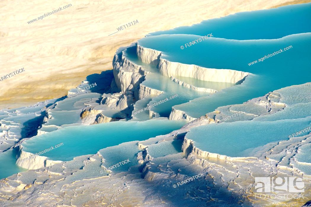 Stock Photo: Pamukkale Travetine Terrace, Turkey Images of the white Calcium carbonate rock formations.