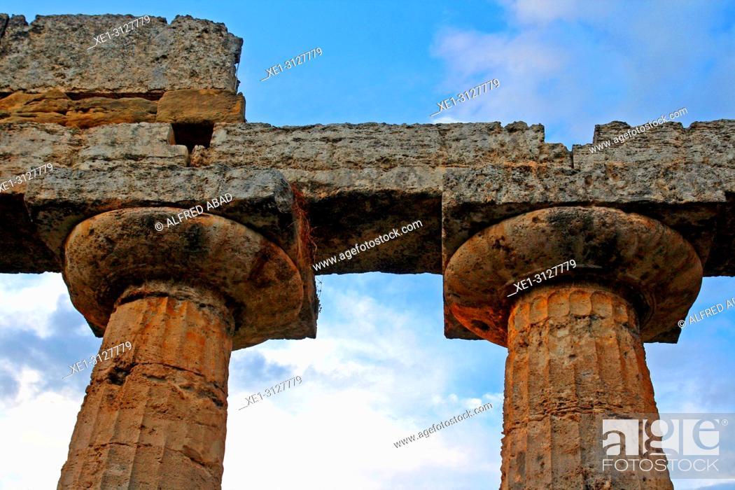 Stock Photo: doric columns, Temple of Hera, archaeological park, Paestum, Italy.