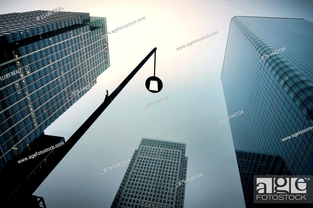 Stock Photo: Business buildings in the City, Canary Wharf, London, England, UK.