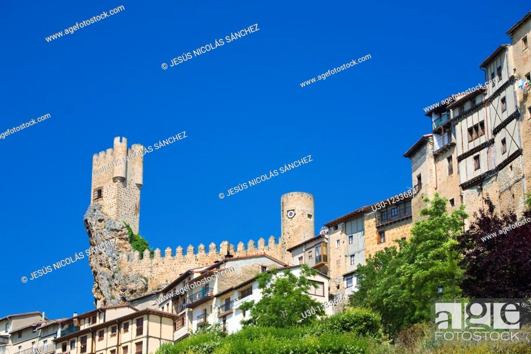Stock Photo: The spectacular tower of Frias castle, above the houses  Las Merindades, Burgos  Spain.