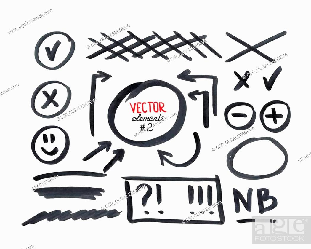 Stock Vector: Set of correction and highlight elements, part 2.
