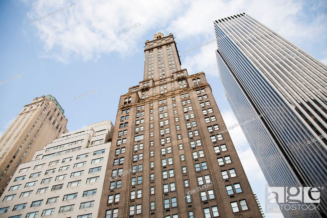 Stock Photo: skyscrapers, grand army plaza, 5th avenue and 59th street, midtown, manhattan, new york, usa, america.