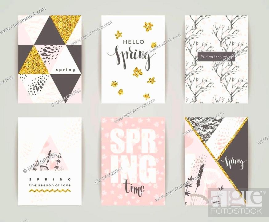 Stock Vector: Set of artistic creative spring cards. Hand Drawn and gold glitter textures. Design for poster, card, invitation, placard, brochure, flyer. Vector.