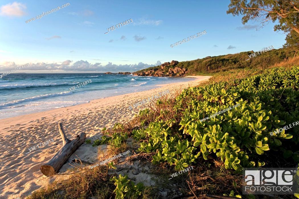 Stock Photo: Grand Anse at sunrise - La Digue Island - The Seychelles.
