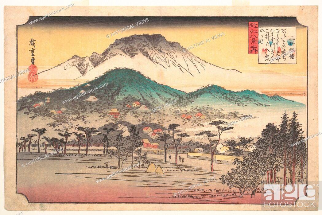 Stock Photo: Mii no Bansho/Vesper Bells at Mii Temple. Artist: Utagawa Hiroshige (Japanese, Tokyo (Edo) 1797-1858 Tokyo (Edo)); Period: Edo period (1615-1868); Date:.