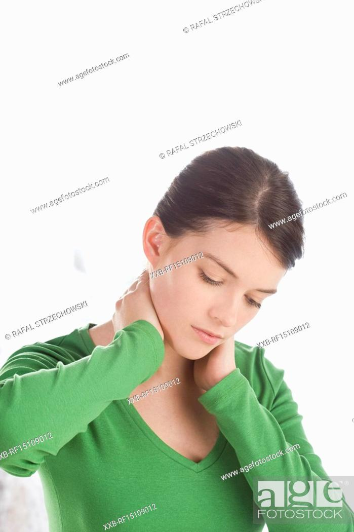 Stock Photo: woman with neck pain.