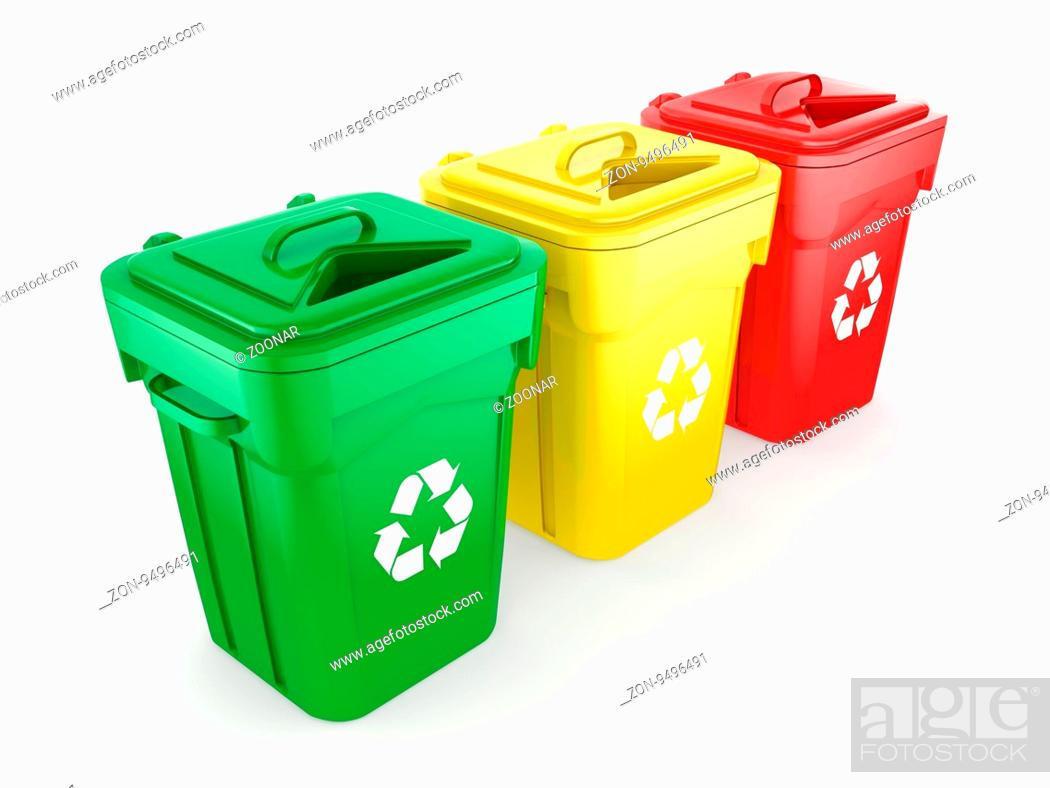 Stock Photo: Multicolor recycling isolated bins on white background.