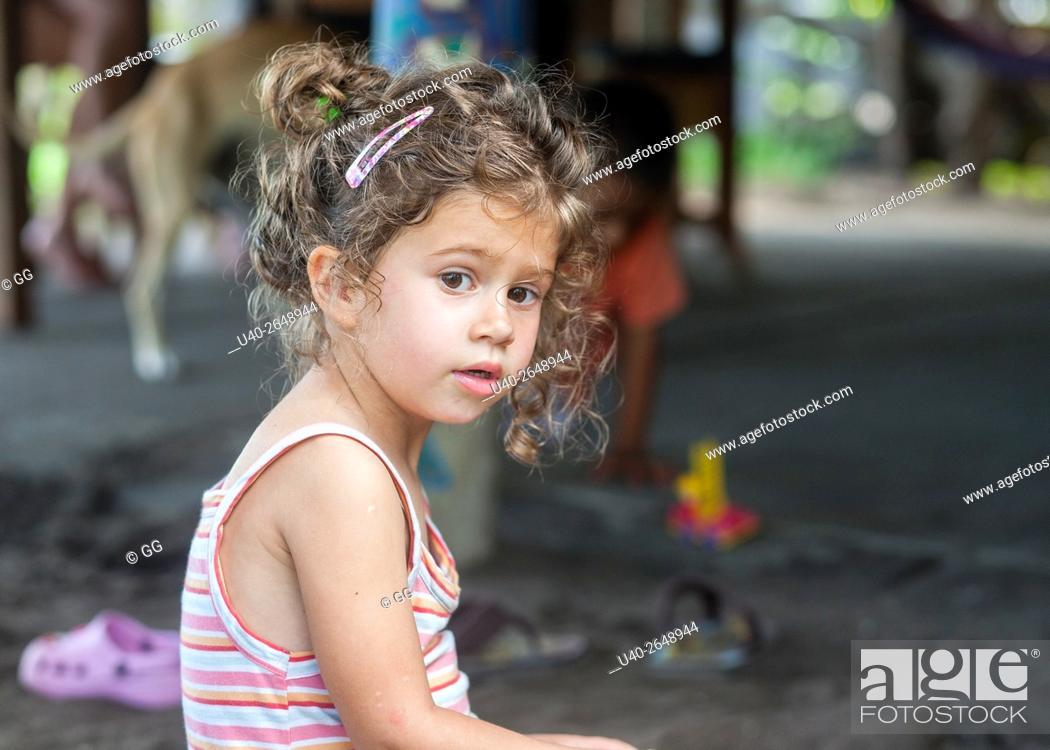 Stock Photo: 3 year old girl at the beach.