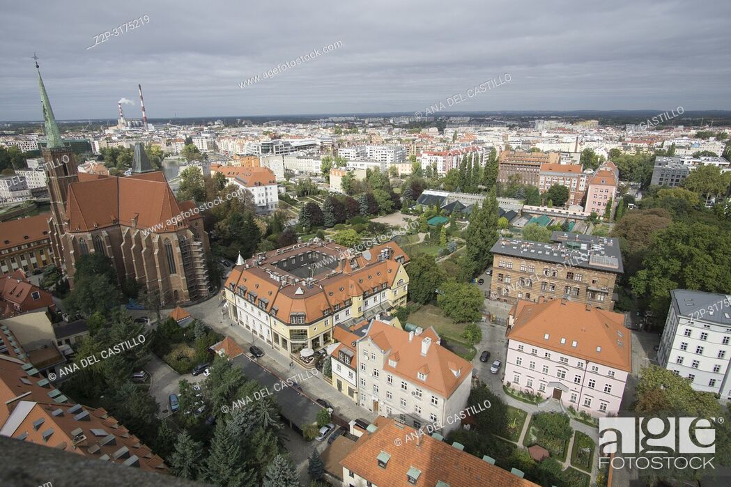 Stock Photo: Wroclaw aerial view from the top of the cathedral Poland.