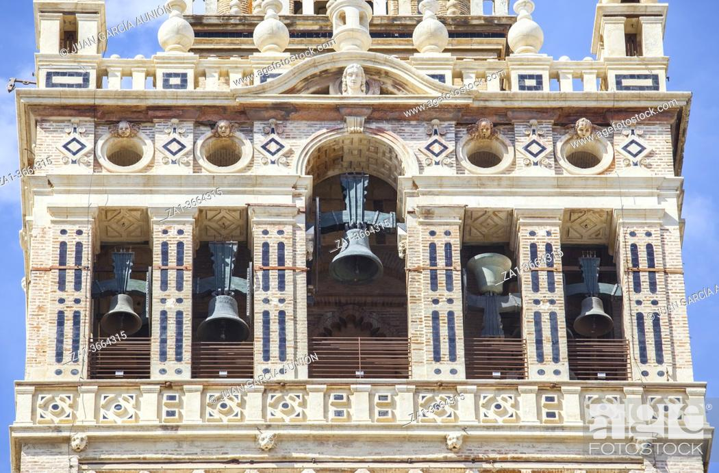 Stock Photo: Belfry section of The Giralda tower. It was added by christians during 16th Century. Seville, Spain.