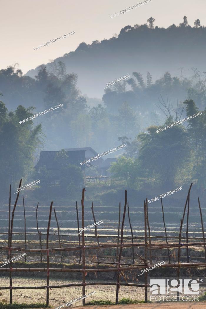 Stock Photo: Vietnam, Muong Ang, hillside farm.