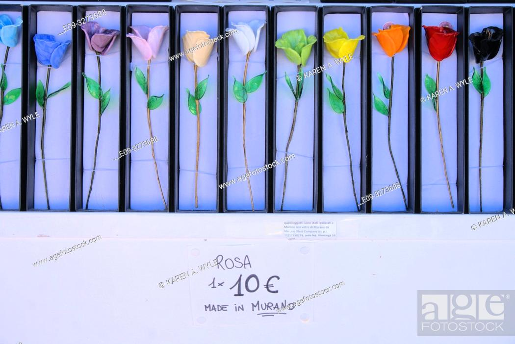 Stock Photo: glass roses in many colors, on display at shop on island of Murano near Venice, Italy.