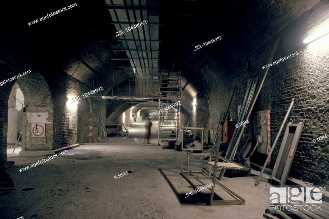 Stock Photo: The construction of Waterloo International Station, by Chris Hogg, 14 July 1992. This extension to Waterloo station is the terminus for the Eurostar service to.