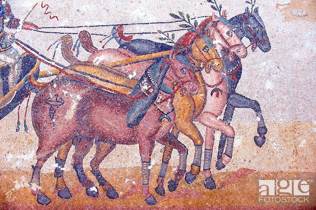 Stock Photo: Circus Maximus - Ancient Roman mosaics at the Villa Romana del Casale, Sicily, Italy.