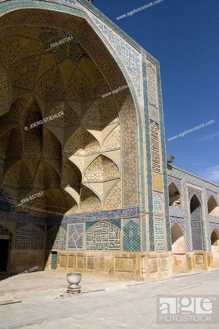 Stock Photo: Iran Esfahan Masdjeh-e Djameh Mosque westside Iwan.