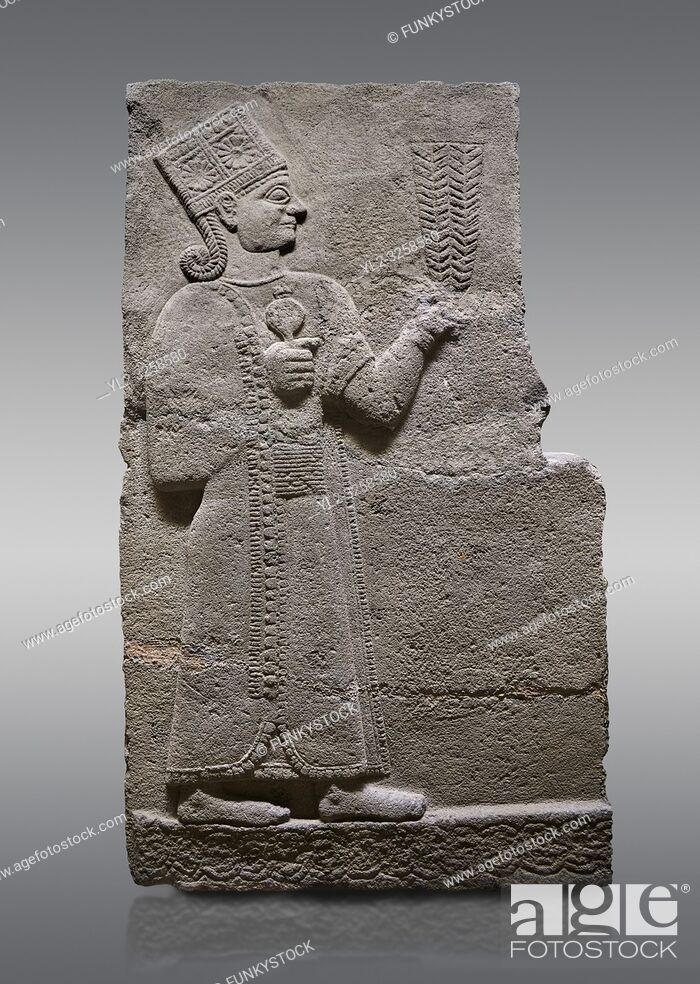 Stock Photo: Picture & image of Hittite relief sculpted orthostat stone panel of Long Wall Basalt, Karkamis, (Kargamis), Carchemish (Karkemish), 900-700 B.C.