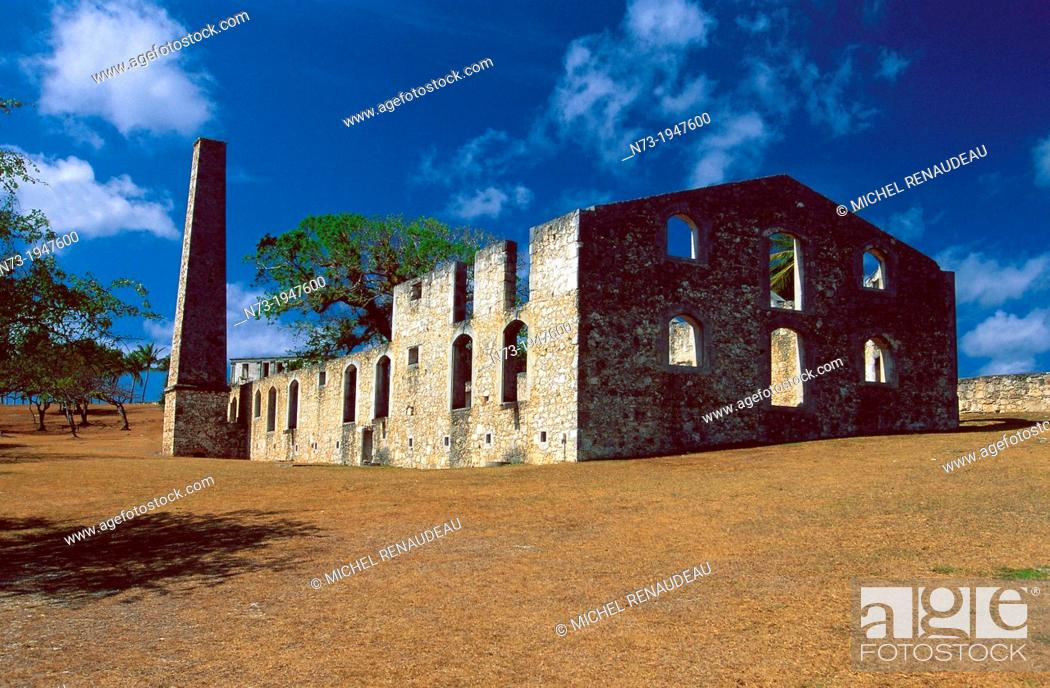 Stock Photo: France, Guadeloupe, Marie-Galante, Murat Castle, sugar refinery.