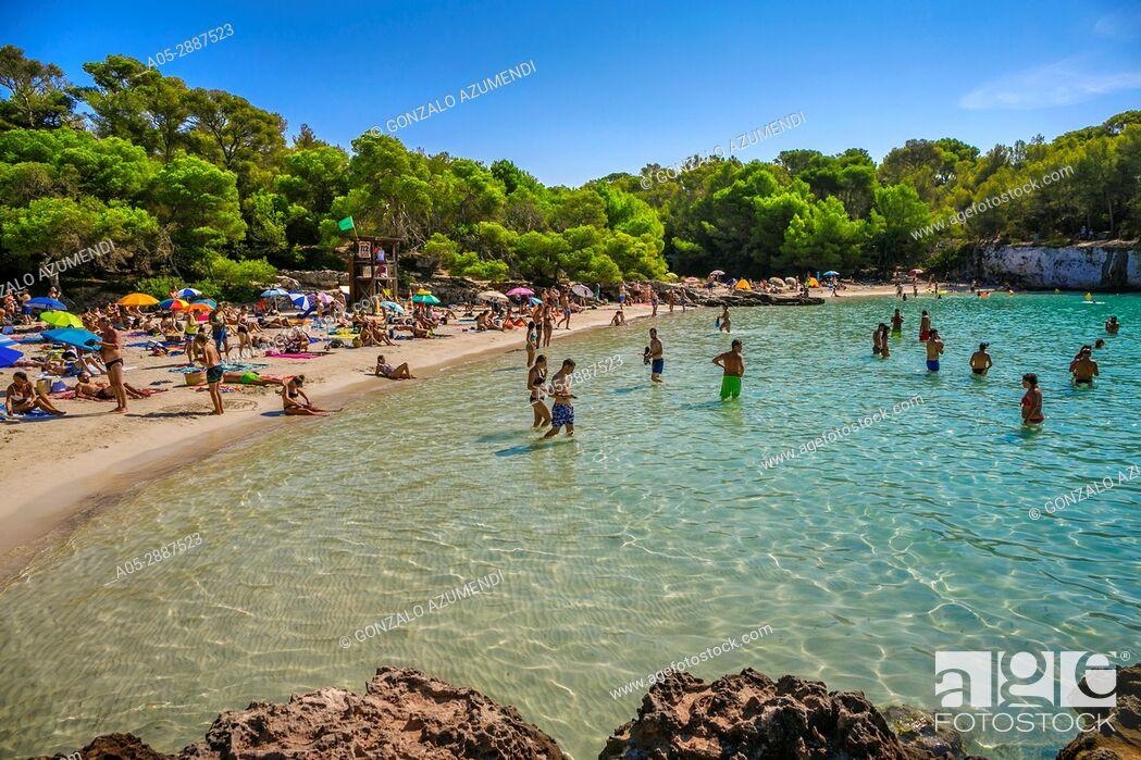 Stock Photo: Cala Turqueta Beach. Ciutadella de Menorca Municipality. Minorca Island. Balearic Islands. Spain.
