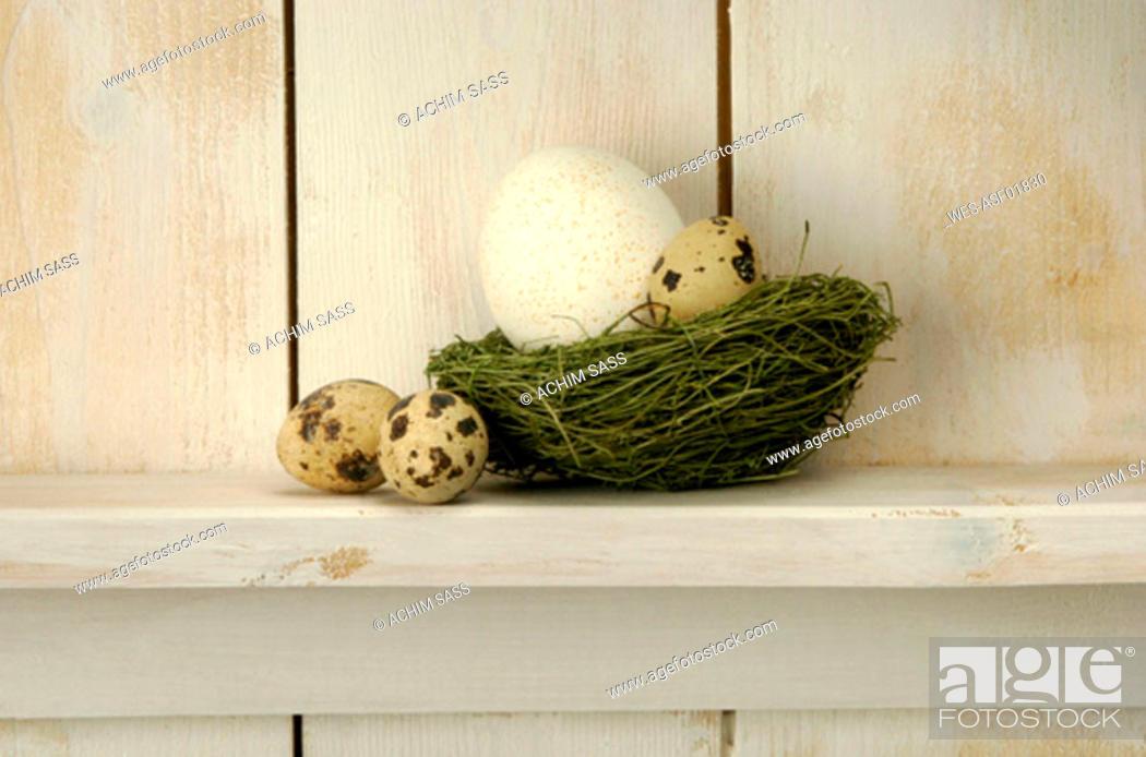 Stock Photo: Easter eggs lying on shelf on grass.