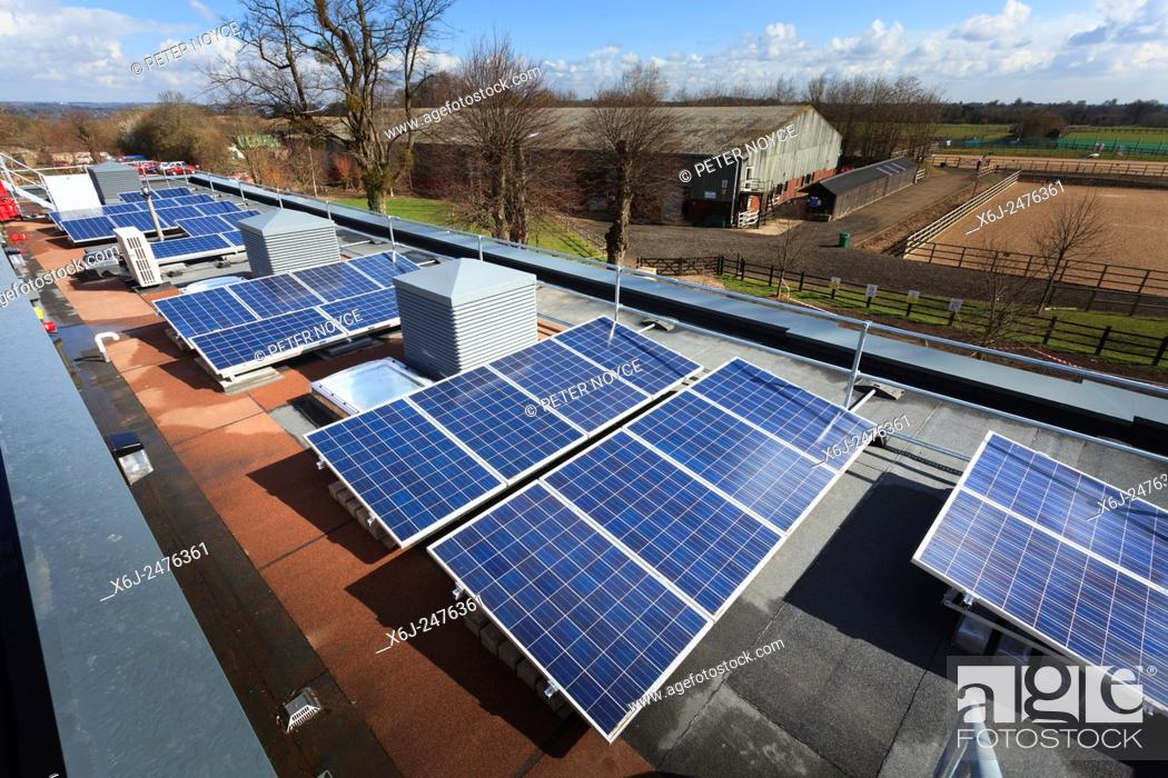 Stock Photo: Row of photovoltaic cells on roof of modern college building.
