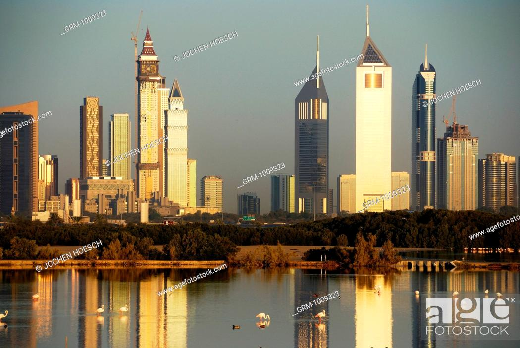 Stock Photo: Skyline of Sheikh Zayed Road at sunrise, Dubai, UAE.
