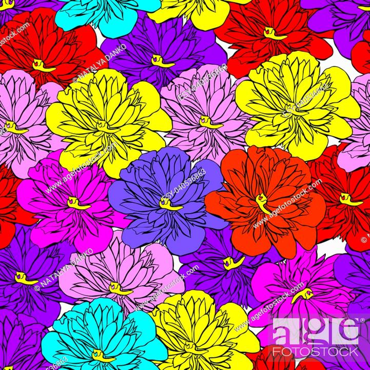 Stock Vector: multi-colored buds of a blooming peony isolated on white background, seamless pattern.