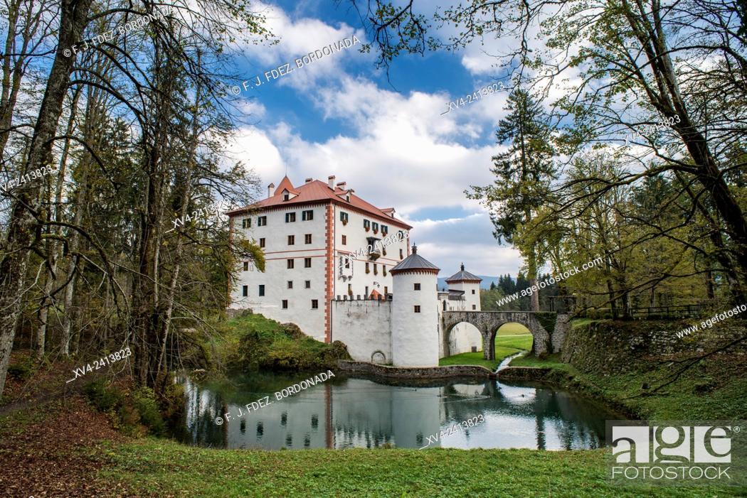 Stock Photo: Grad Snežnik castle, Lož Valley, Loška Dolina, Slovenia.