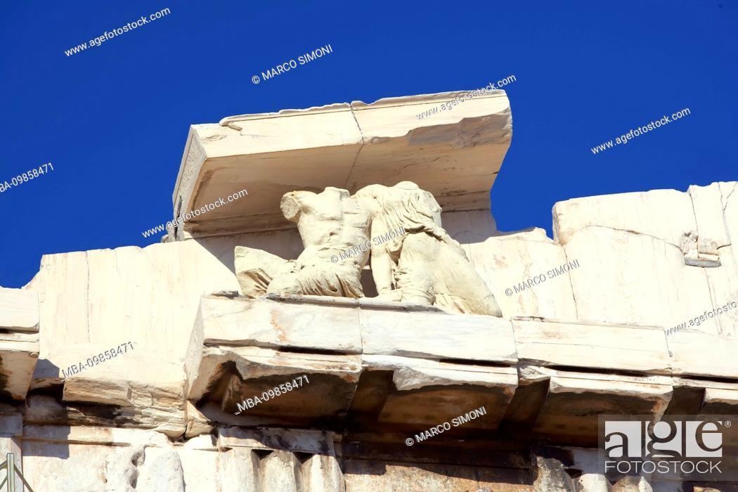 Stock Photo: Parthenon freize, Acropolis, Athens, Greece.