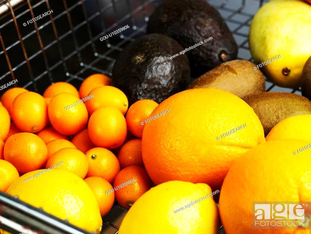 Stock Photo: mango, orange, avocado, oval kumquat, lemon, shopping cart.