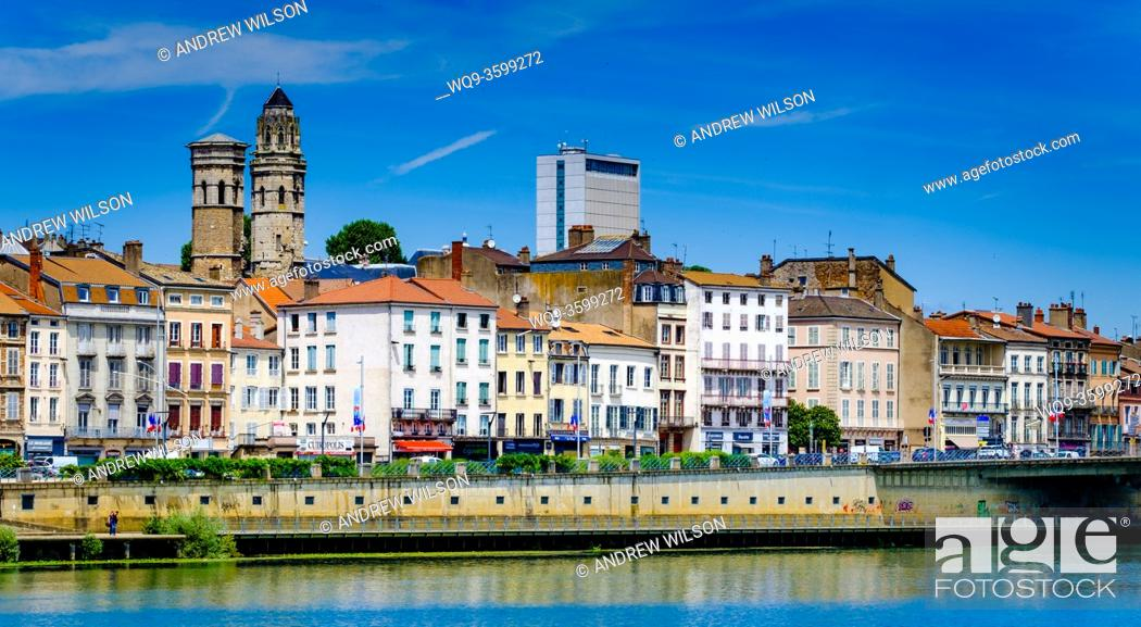 Stock Photo: Mâcon on the banks of the Saone river in the Saone-et-Loire department of France, to the south of the Burgundy region.