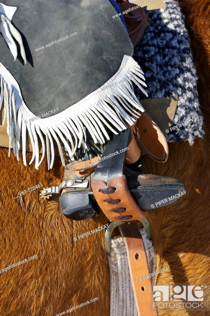 Stock Photo: Close-up of a young cowboy's boot in a stirrup, Shell, Wyoming. Usa.