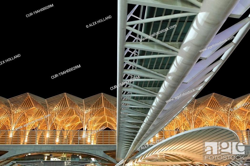 Stock Photo: The Oriente station is the main modern railway station in Lisbon, designed by Santiago Calatrava.
