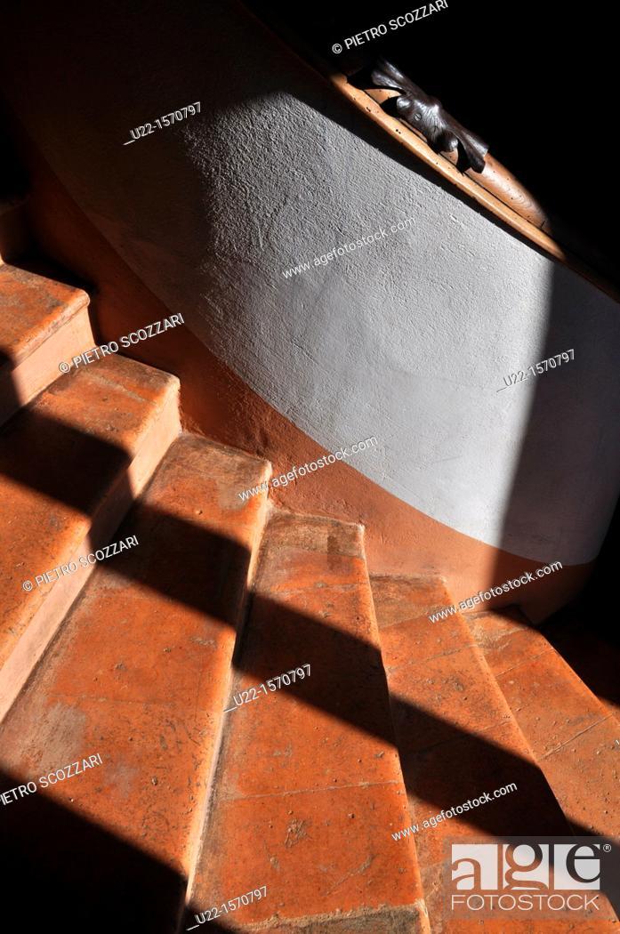Stock Photo: Vignola (Modena, Italy): detail of the winding staircase at Palazzo Barozzi.
