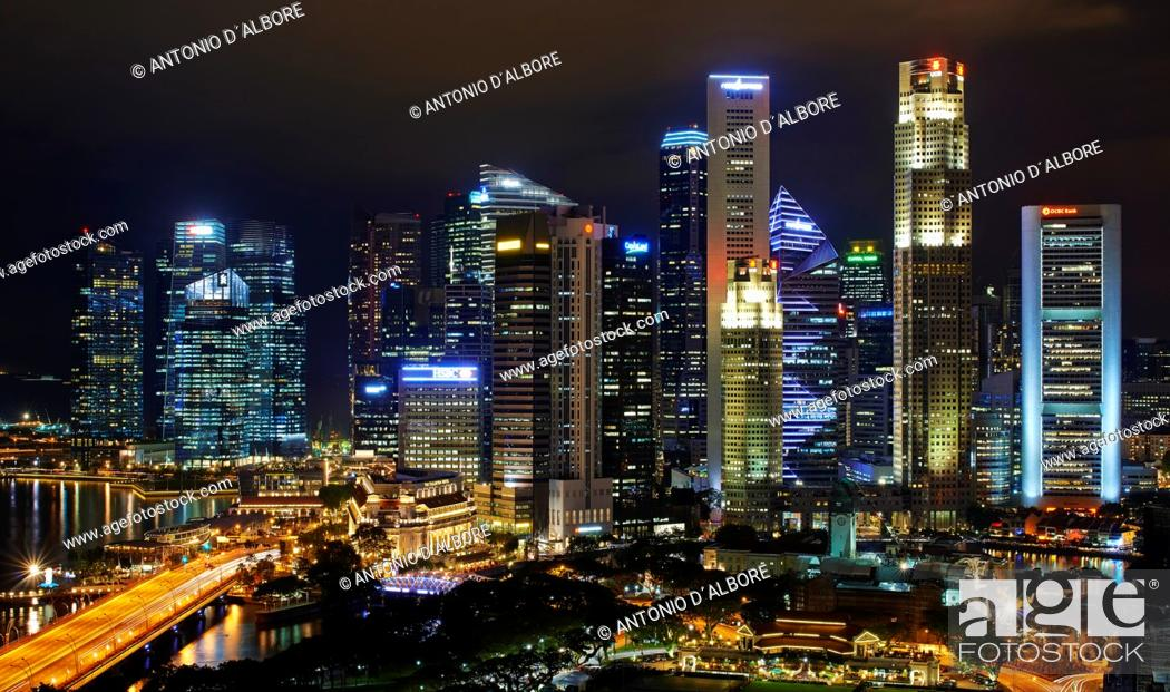Stock Photo: The Central Business District by night. Singapore.