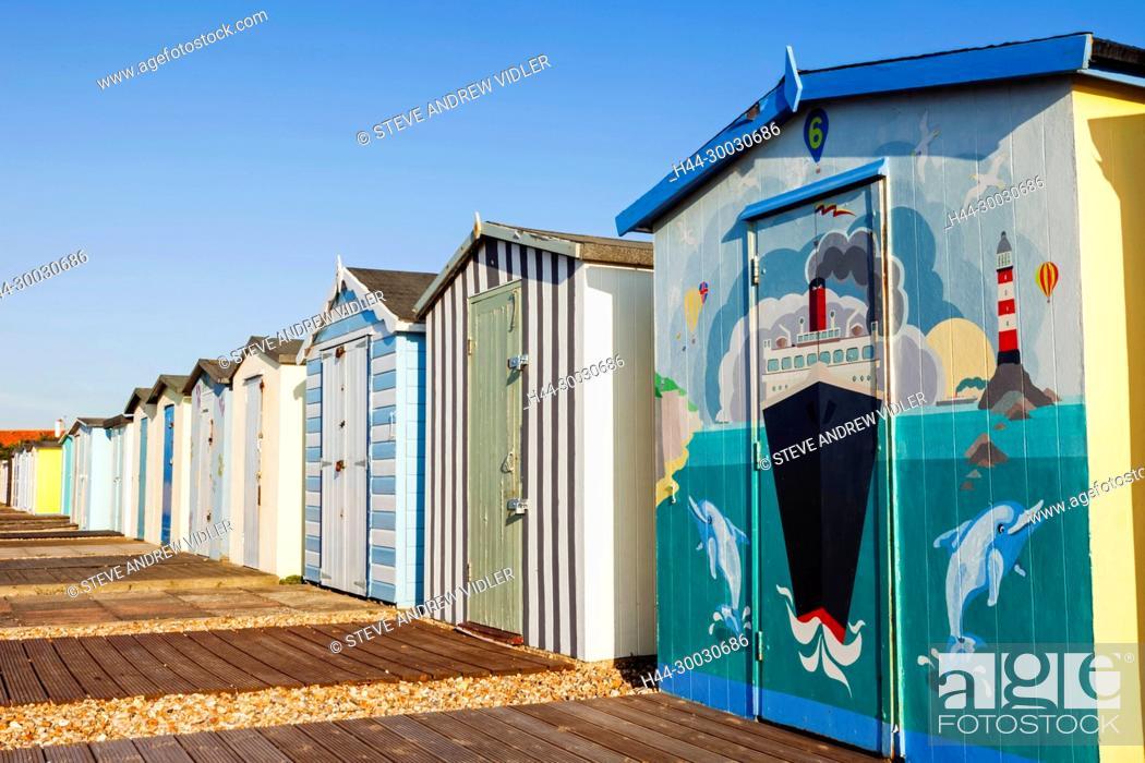 Stock Photo: England, West Sussex, Bognor Regis, Bognor Regis Beach, Beach Huts.