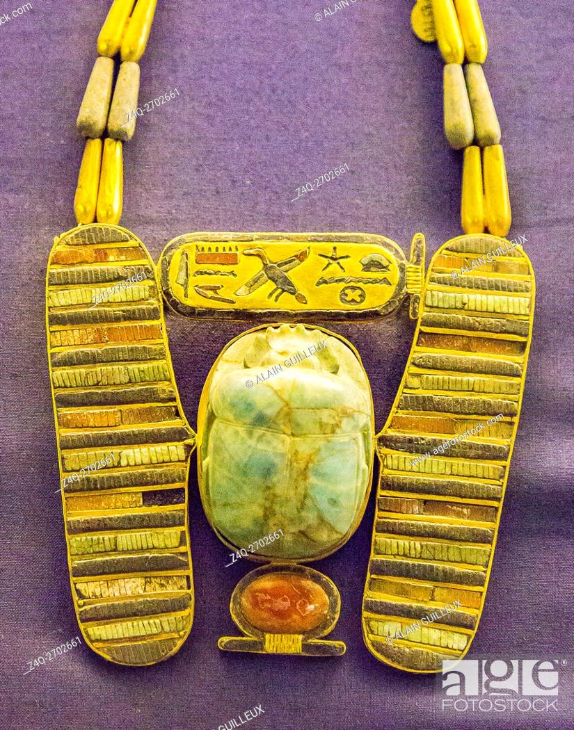Stock Photo: Egypt, Cairo, Egyptian Museum, jewellery found in the royal necropolis of Tanis, burial of Psusennes : Pectoral in the shape of a winged scarab.