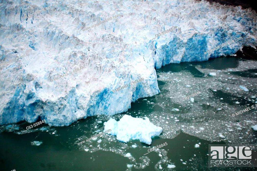Stock Photo: Aerial view of the Le Conte Glacier in Le Conte Bay, Southeast Alaska, USA.