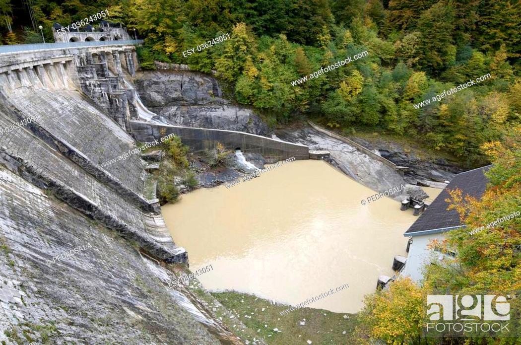 Stock Photo: Irabia reservoir, Irati, Navarra, Spain.